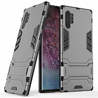 Чехол Hybrid case для Samsung Galaxy Note 10 Plus (N975) бампер с подставкой темно-серый