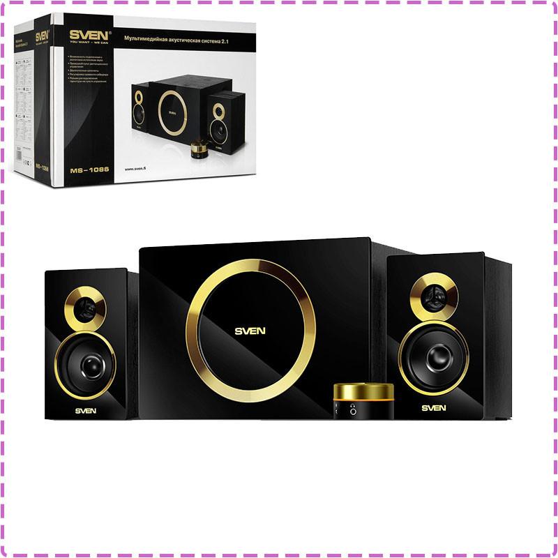 Колонки для компьютера 2.1 Sven MS-1086 Black/Gold, акустика, акустическая система свен