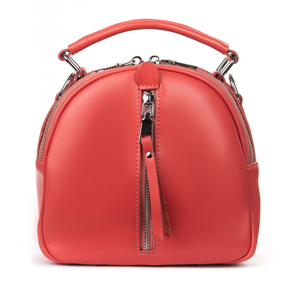 Рюкзак женский кожаный в красном цвете 3383