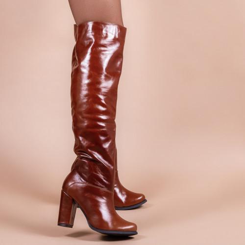 Женские сапоги высокие кожаные на каблуке. Индивидуальный пошив. Цвет на выбор