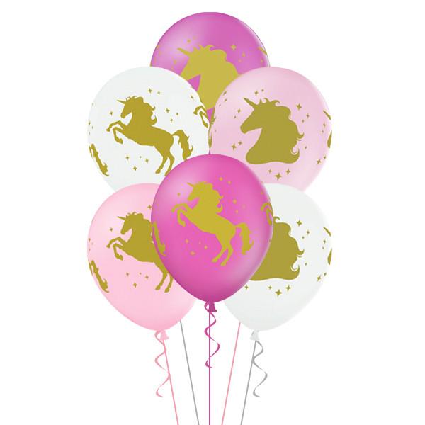 Латексный воздушный шар Единорог  c гелием 35 см