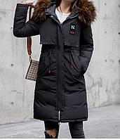 Пуховик двусторонний теплый черный, стильный, размер L, XL, 2XL