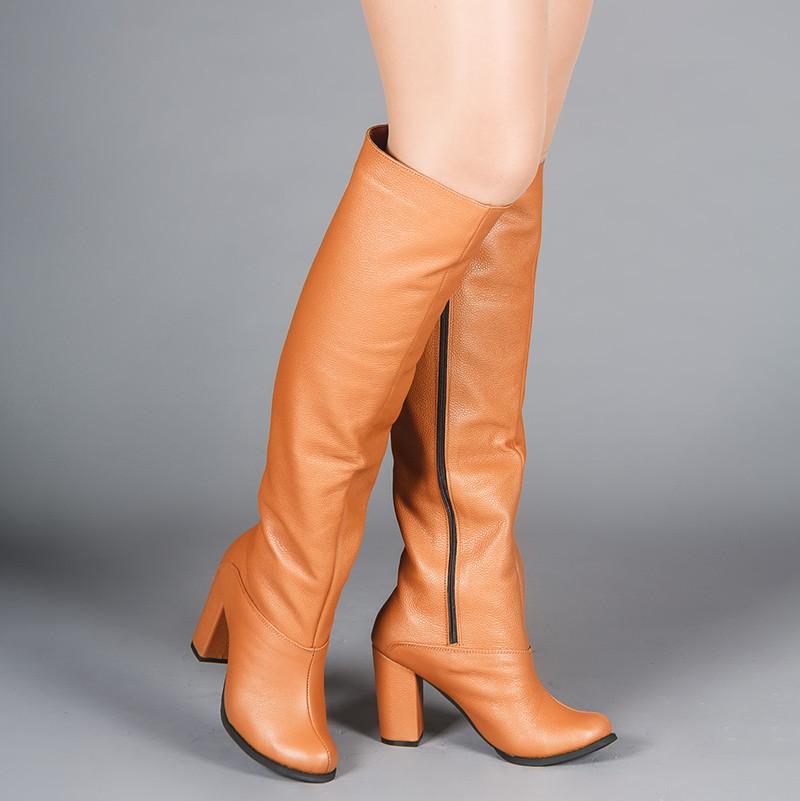 Женские сапоги высокие кожаные на каблуке. Индивидуальный пошив. Цвет и утеплитель на выбор