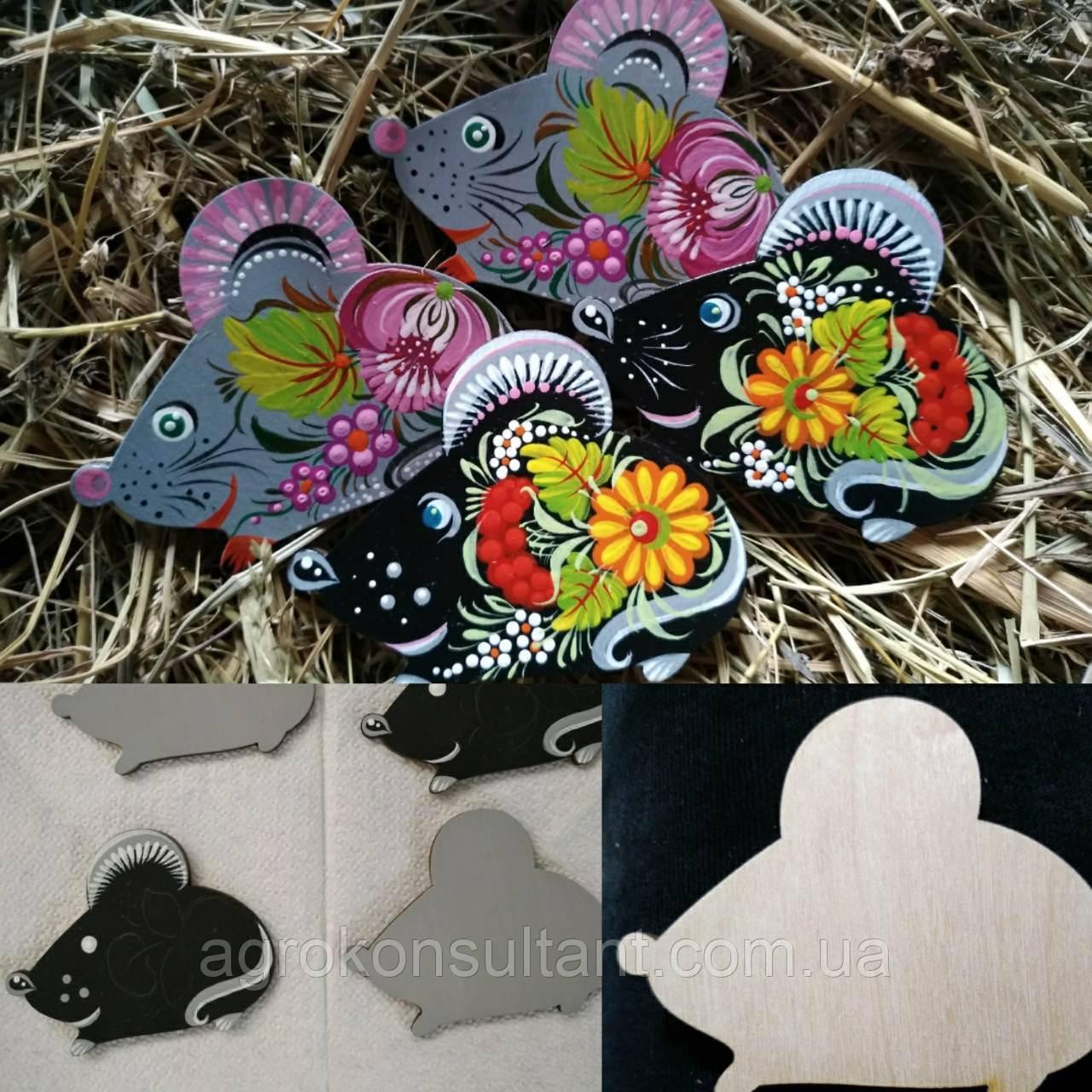 Мышка магнит, Петриковская роспись (ручная работа) — Mouse magnet, Petrikov painting (handmade).