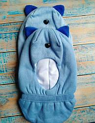 Зимова шапка шлем з вушками на хлопчика колір блакитний 50-52 см