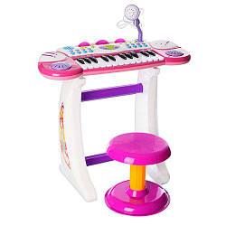 Детский синтезатор BB33 на ножках 24 клавиши микрофон стульчик