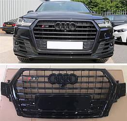 Решетка радиатора Audi Q7 4M (16-19) стиль SQ7 Black Edition (черный глянц)