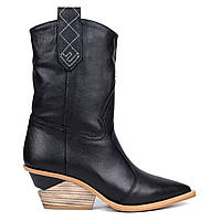 Казаки из натуральной кожи Woman's heel черный (О-875)