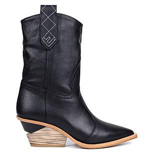 Казаки кожаные Woman's heel 40 черные (О-875)