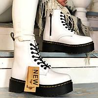 Женские зимние ботинки в стиле Dr. Martens Jadon White с мехом