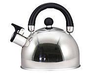 Чайник кухонный 3 литра из нержавеющей стали со свисткоми черной ручкой для всех видов плит Zauberg
