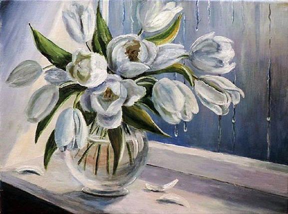 КДИ-0110 Набор алмазной вышивки Белые тюльпаны, фото 2