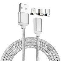 🔝 Магнитная зарядка, кабель для зарядки, Серебристый, Micro-USB, Lightning, Type-C   🎁%🚚