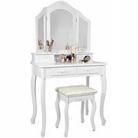 Туалетный столик Роза белый с зеркалом Трюмо в спальню