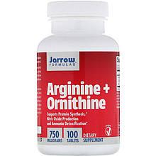 """Аргінін + орнитин Jarrow Formulas """"Arginine + Ornithine"""" 750 мг (100 таблеток)"""