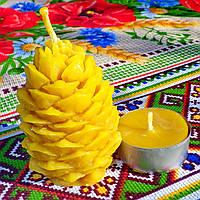 "Новорічна воскова свічка ""Кедрова шишка"" з 100% бджолиного воску; Восковая свеча ""Шишка"" из пчелиного воска, фото 1"