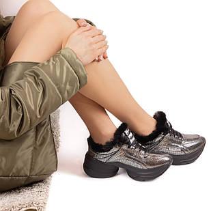 Кроссовки кожаные на меху Woman's heel женские зимние утепленные на шнуровке серые