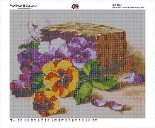 КДИ-0133 Набор алмазной вышивки Корзинка с анютиными глазками, фото 2