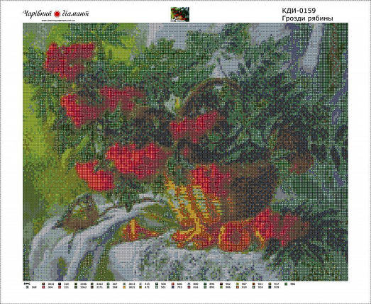 КДИ-0159 Набор алмазной вышивки Грозди рябины, фото 2
