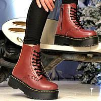 Женские зимние ботинки в стиле Dr. Martens Jadon Burgundy с мехом