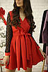 Короткое платье из костюмки с рукавами из сетки в горох, фото 5