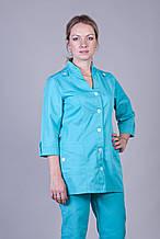 Коттоновый медицинский костюм женский цвет бирюза