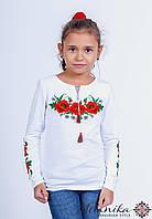 Вишита футболка для дівчинки на довгий рукав із маками на грудях «Макове поле»