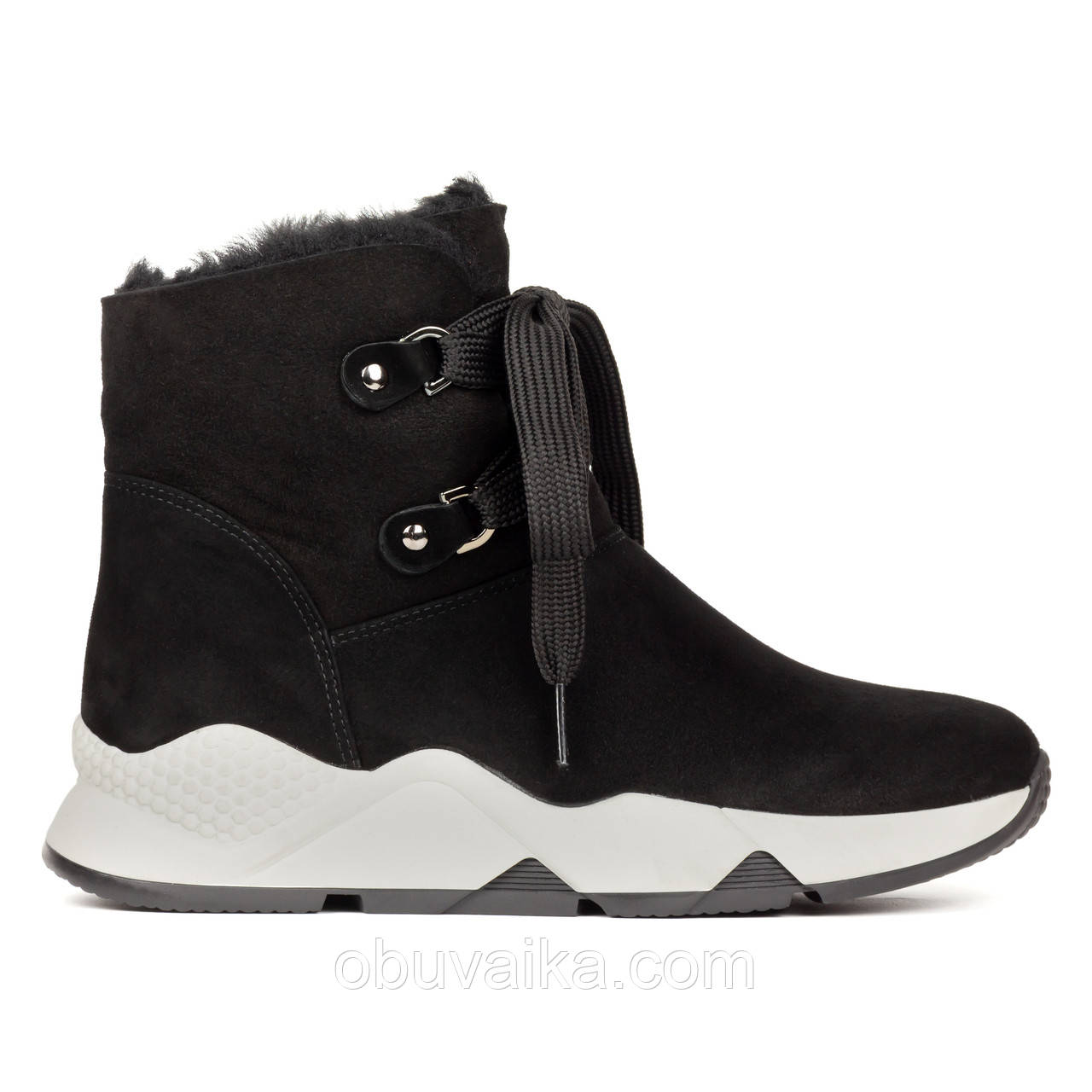 Меховые женские ботинки 36-40 Woman's heel черные в спортивном стиле декорированные шнуровкой