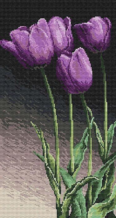 КДИ-0194 Набор алмазной вышивки Сиреневые тюльпаны
