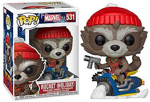 Фигурка Funko Pop Фанко Поп Marvel Holiday Rocket Праздничный Марвел Рокет 10 см MH R 531