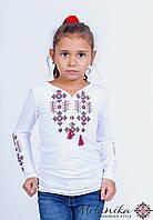 Вишита футболка на довгий рукав для дівчинки  із геометричним орнаментом «Зоряне сяйво (червона)», фото 1