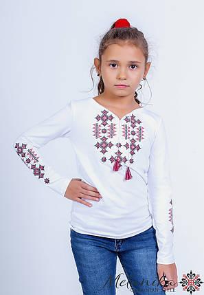 Вышитая футболка с длинным рукавом для девочки с геометрическим орнаментом «Звездное сияние (красная)», фото 2
