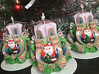 Свеча новогодняя, ручная работа, красиво украшена дедом морозом