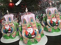 Свічка новорічна, ручна робота, красиво прикрашена дідом морозом