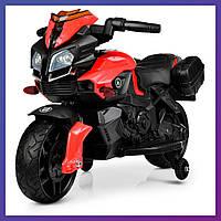 Детский электромотоцикл страховочные колеса Bambi M 3832 EL-2-3 красно-черный | Дитячий мотоцикл  Бембі