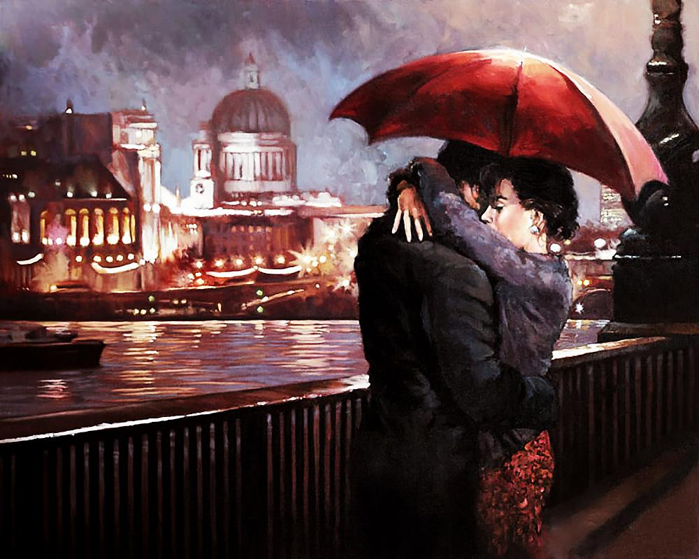 КДИ-0233 Набор алмазной вышивки Влюбленные на мосту. Художник Mark Spain
