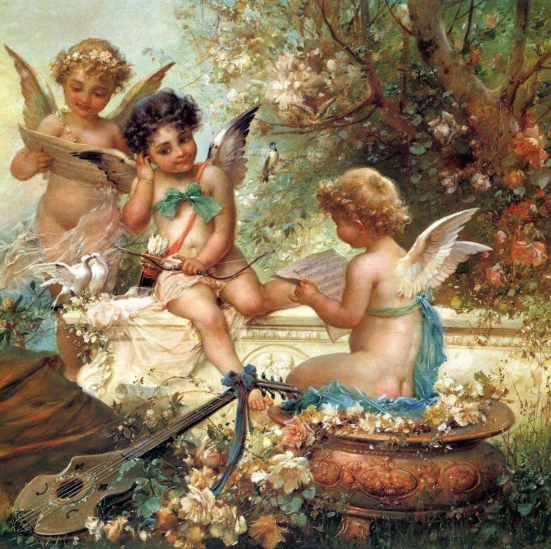 КДИ-0235 Набор алмазной вышивки Три милых Ангела. Художник Hans Zatska