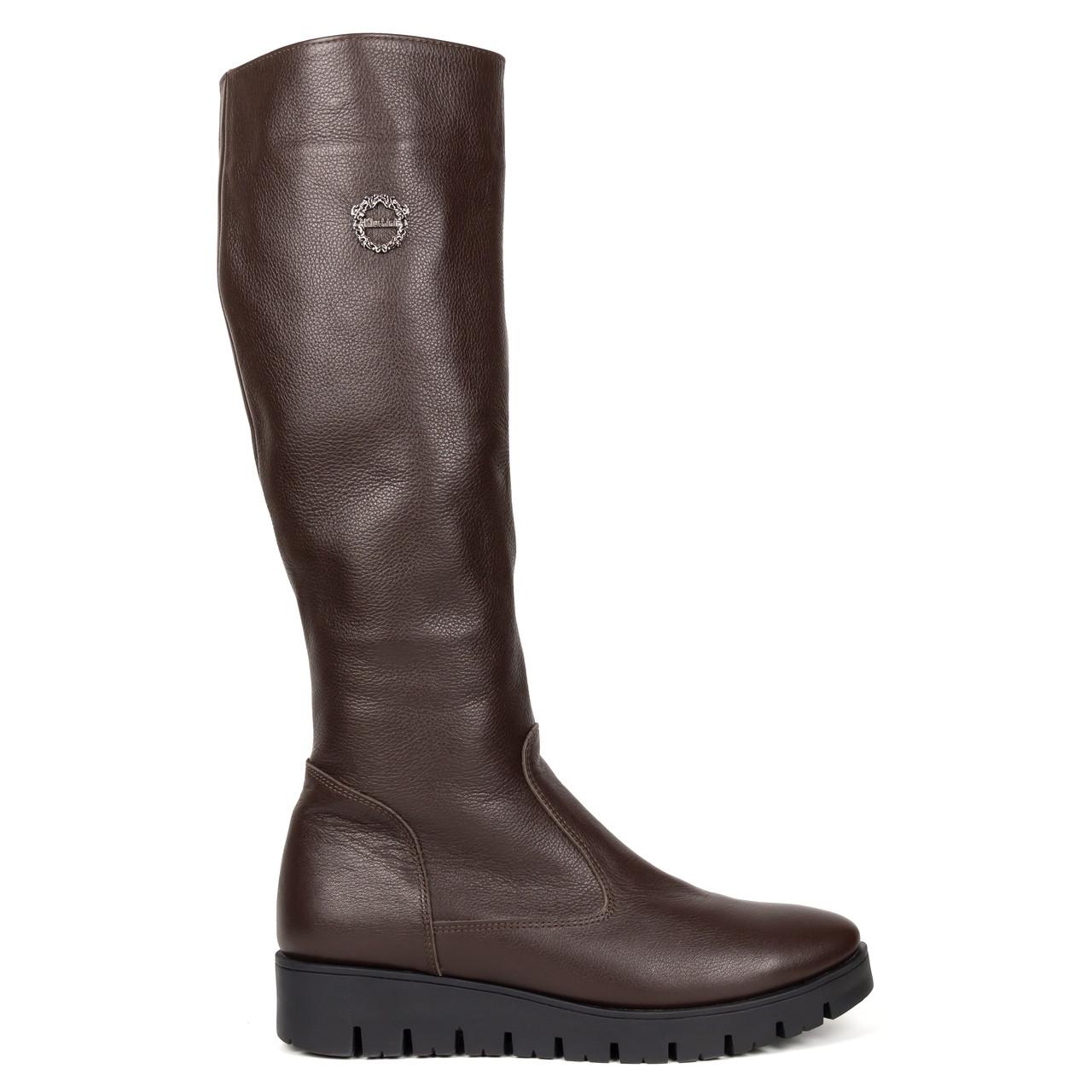 Сапоги с мехом Woman's heel коричневые (О-691)