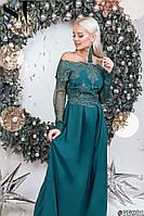 Вечернее платье в пол из софта + евросетка и кружево верх платья и на рукавах, открытые плечи  (42-46)