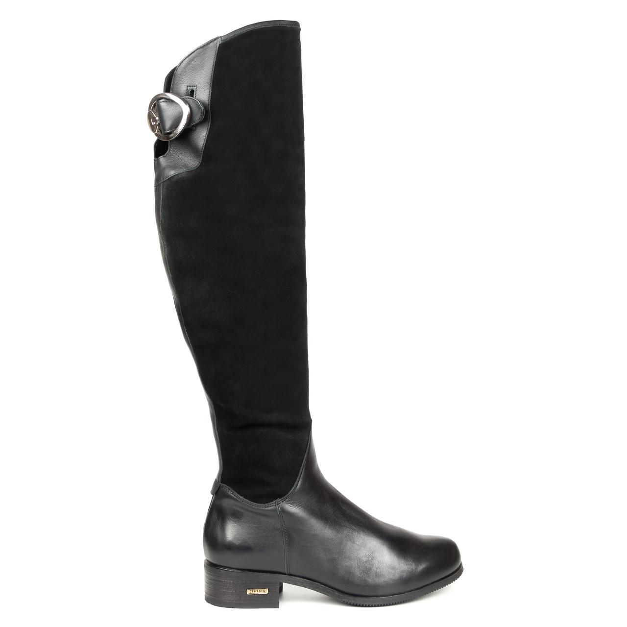 Сапоги женские с мехом Woman's heel черные (О-611)