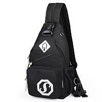 Сумка через плече c usb Sankey мини рюкзак городской черный  Код 13-7115, фото 1