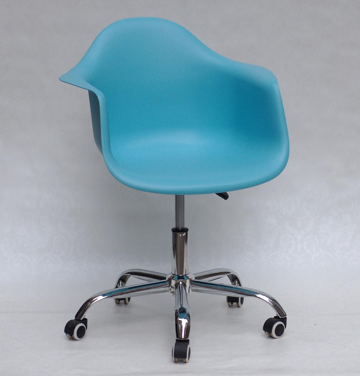 Кресло офисное  пластиковое на колесах Leon  Office , голубой 52