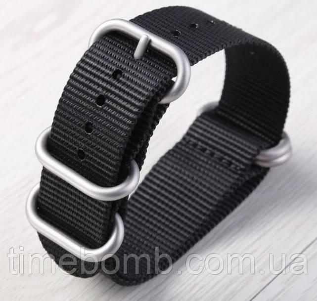 Черный нейлоновый ремешок ЗУЛУ для часов со стальной пряжкой 24 мм