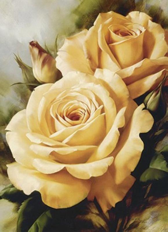 КДИ-0296 Набор алмазной вышивки Желтые розы. Художник Levashov Igor