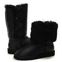 Сапожки Угги женские UGG Bailey Button Triplet Black Leather, зимние сапоги угг с 3-мя пуговицами черные