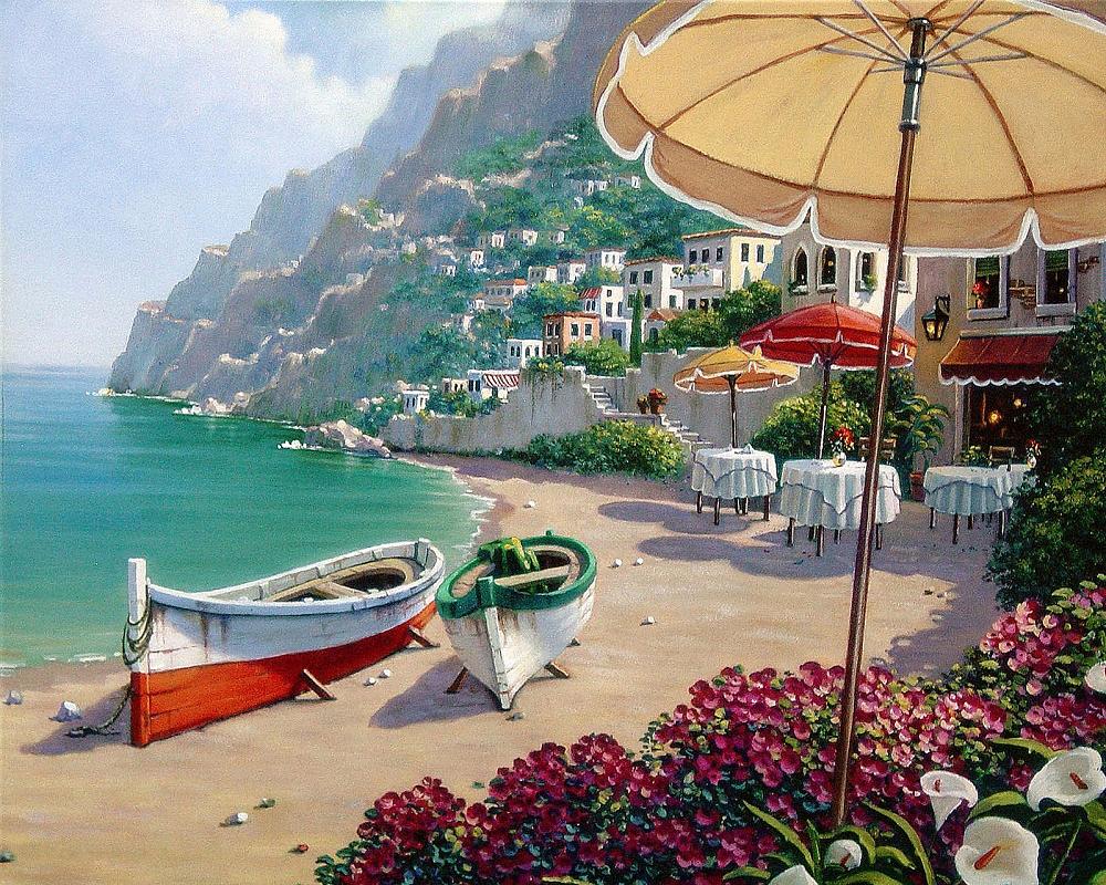 КДИ-0324 Набор алмазной вышивки Лодки на острове Капри. Художник Bob Pejman