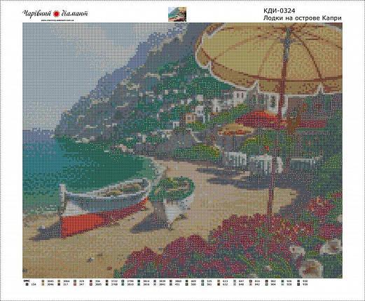 КДИ-0324 Набор алмазной вышивки Лодки на острове Капри. Художник Bob Pejman, фото 2