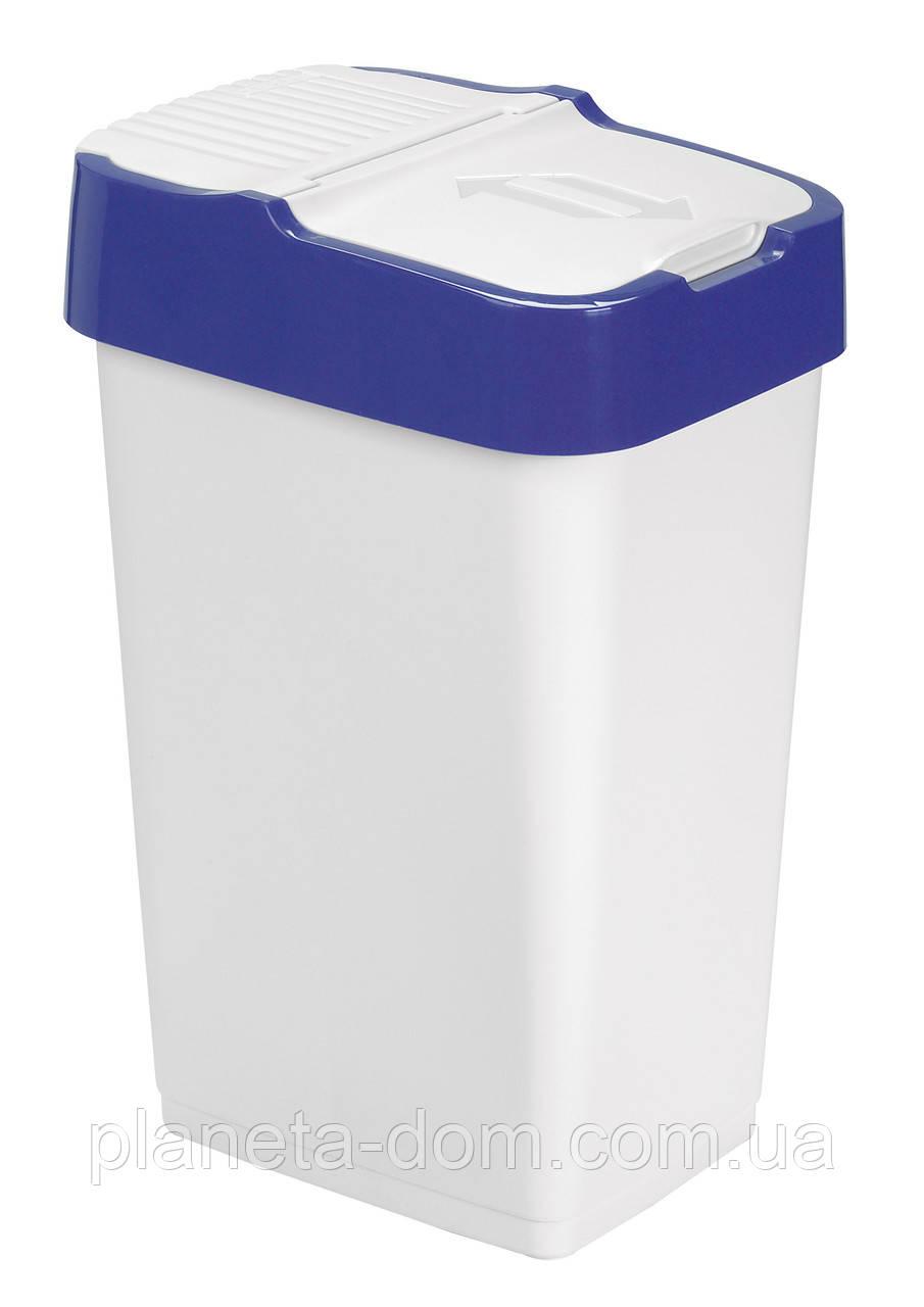 Відро для сміття з кришкою біле 18л, Heidrun REFUSE Push&Up, 29х23х43 см