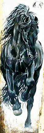 КДИ-0411 Набор алмазной вышивки Вороной конь, фото 2