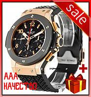 Часы наручные мужские ААА класса Hublot Big Bang Chronograph Ceramica Black-Gold-Black 5829 черные